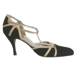 Dolce & Gabbana Black Suede Tan Leather Strap Heel